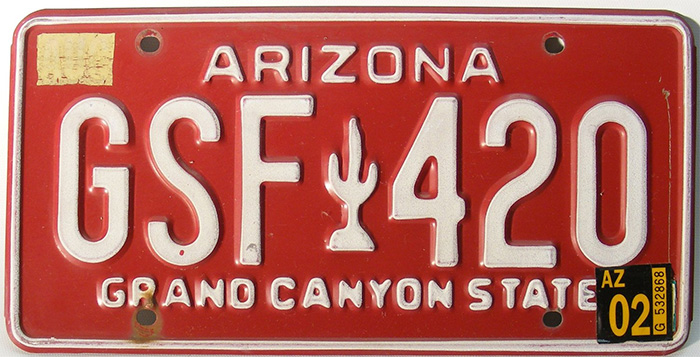 Arizona License Plate Embossed Cactus