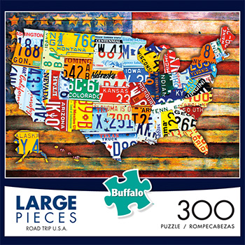 This 300 Piece High Quality License Plate Map Of The Usa Jigsaw Puzzle Is Made Of Pieces That Are 67 Larger Than Traditional Puzzle Pieces