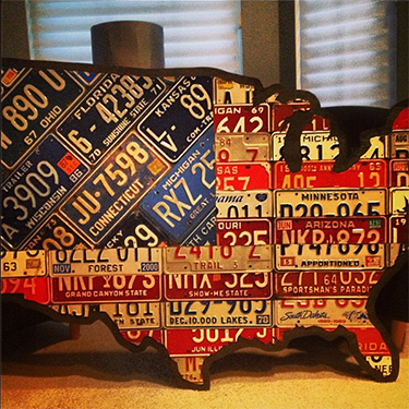 American Flag License Plate Map