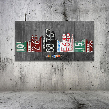 Boston Skyline License Plate Art