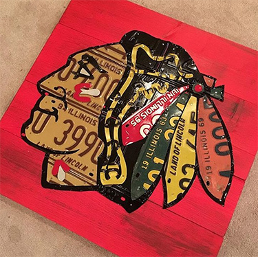 Chicago Blackhawks License Plate Logo Illinois