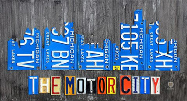 Detroit Skyline License Plate Art