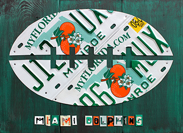 Miami Dolphins Football License Plate Art
