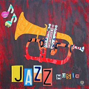 Jazz Music License Plate Art