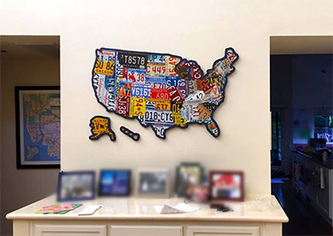 Silhouette Cut Version USA License Plate Map