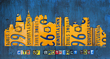 Philadelphia Skyline License Plate Art