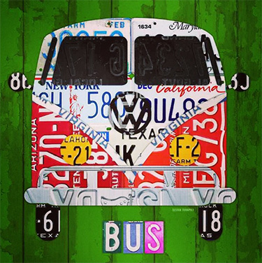 VW Bus License Plate Art