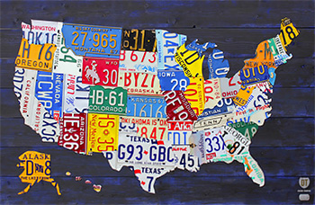 License Plate Art And License Plate Maps By Design Turnpike - License plate usa map
