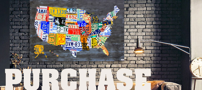 Purchase License Plate Maps of the USa and other Art by Design Turnpike