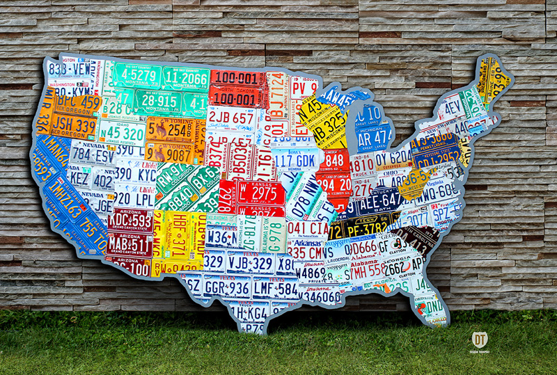 10 Amazing Things Made Using Recycled Vintage License Plates on map white on white art, map made of buttons, map of united states license, map made of tools, map made of paper, map made of flowers, map wall decor metal art, map made of books,